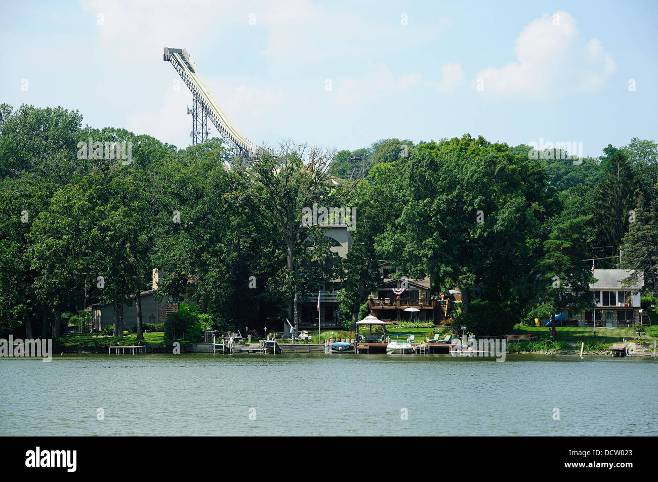 Norge Ski Jump in Fox River Grove, Illinois, USA. Stock Photo