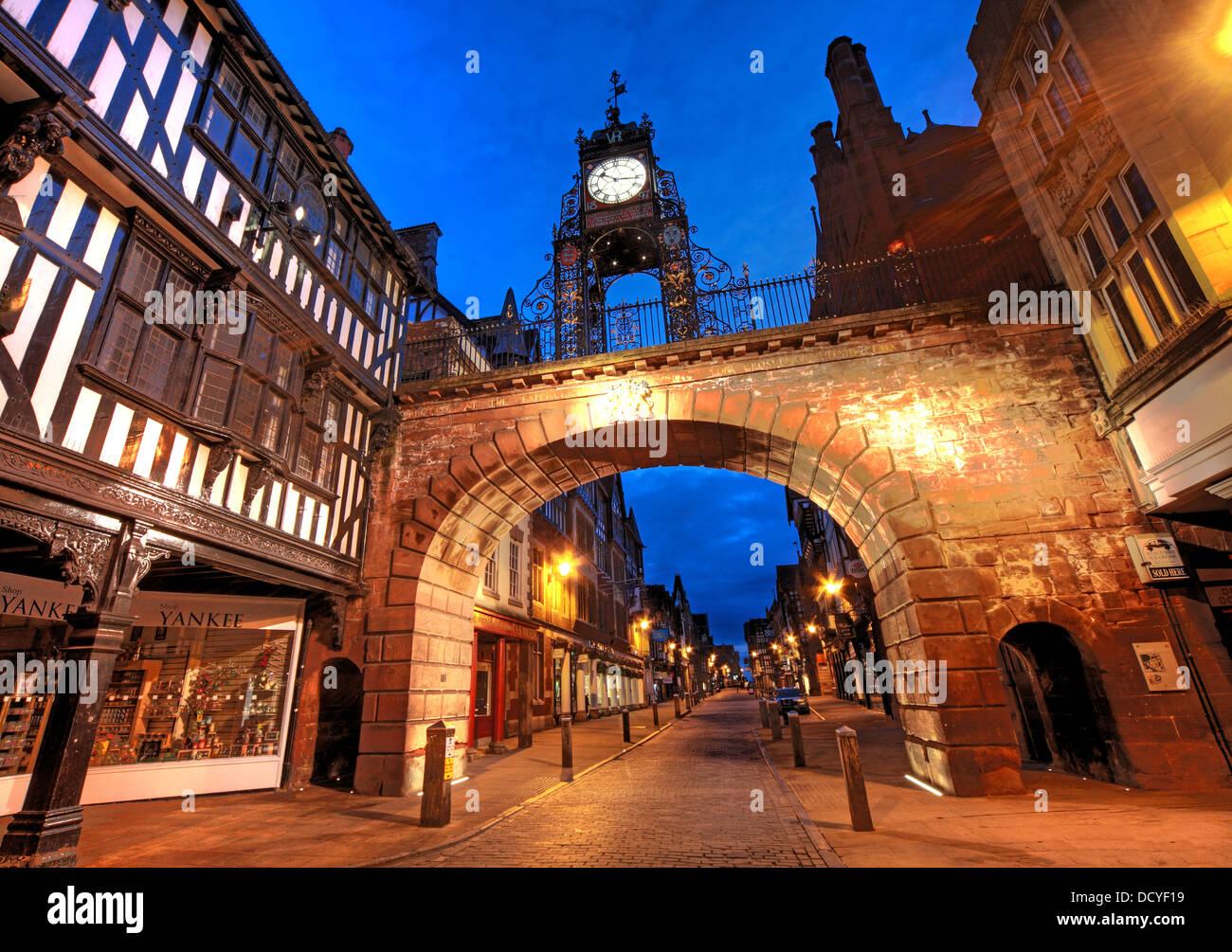 NW,North,West,classic,history,historic,Cheshire,West,and,CWAC,east,tourist,tourism,council,local,authority,gem,gems,shot,nightshot,Eastgate,Clock,which,is,said,to,be,the,most,photographed,clock,in,England,after,Big,Ben,Chester,City,Night,at,Dusk,England,UK,Deva,Roman,gate,Gotonysmith Chester is a city in Cheshire,England. Lying on the River Dee,close to the border with Wales,it is home to 120,622 inhabitants,and,is,the,largest,and,most,populous,settlement,of,the,wider,unitary,authority,area,of,Cheshire,West,and,Chester,which had a population of 328,100,according,to,the,2001,Census.,Chester,was,granted,city,status,in,1541.,Chester,was,founded,as,a,or Roman fort with the name Deva Victrix in,Eastgate,Northgate,Watergate and Bridge,follow routes laid out at this time – almost 2,000,years,ago.,One,of,the,three,main,Roman,army,bases,Deva,later,became,a,major,settlement,in,the,Roman,province,of,Britannia.,After,the,Romans,left,in,the,5th,century,the Saxons fortified the town,castrum,Buy Pictures of,Buy Images Of