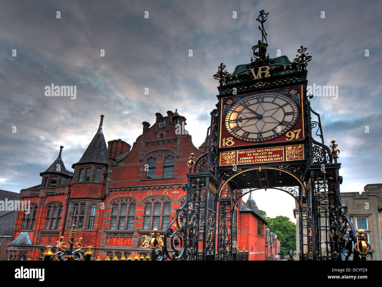 UK England,English,Great,Britain,British,walled,city,VR,1897,bridge,Roman,fortress,of,Deva,Victrix.,prominent,landmark,landmarks,gateway,diamond,jubilee,of,Queen,Victoria,daytime,daylight,sky,dramatic,openwork,iron,pylons,has,a,clock,face,on,all,four,sides,city,listed,by,English,Heritage,grade,I,gotonysmith,travel,tourist,tourism,CWAC,West,east,local,authority,council,grade1,famous,clocks,history,historic,landmark,landmarks,CH1,1LE,CH11LE,st,street,City Centre,City,Centre,@hotpixUK,Buy Pictures of,Buy Images Of
