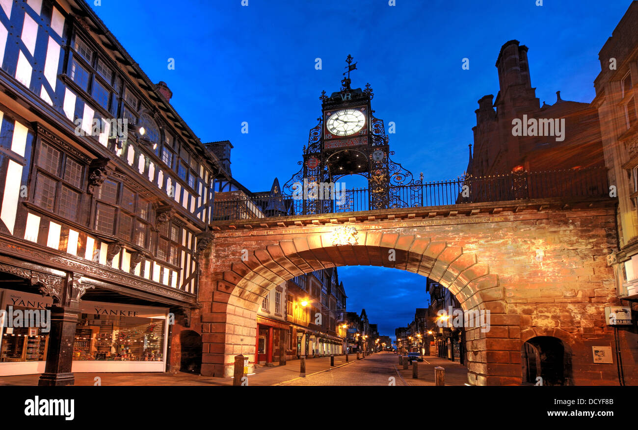 NW,North,West,classic,history,historic,Cheshire,West,and,CWAC,east,tourist,tourism,council,local,authority,gem,gems,shot,nightshot,Eastgate,Clock,which,is,said,to,be,the,most,photographed,clock,in,England,after,Big,Ben,Chester,City,Night,at,Dusk,England,UK,Deva,Roman,east,Gate,Buy Pictures of,Gotonysmith Chester is a city in Cheshire,England. Lying on the River Dee,close to the border with Wales,it is home to 120,622 inhabitants,and,is,the,largest,and,most,populous,settlement,of,the,wider,unitary,authority,area,of,Cheshire,West,and,Chester,which had a population of 328,100,according,to,the,2001,Census.,Chester,was,granted,city,status,in,1541.,Chester,was,founded,as,a,or,Roman,fort,with,the,name,Deva,Victrix,in,the,year,79,by,the,Roman,Legio,II,Adiutrix,during,the,reign,of,the,Emperor,Vespasian.,Chesters,four,main,roads,Eastgate,Northgate,Watergate and Bridge,follow routes laid out at this time – almost 2,000,years,ago.,One,of,the,three,main,Roman,army,bases,Deva,later,became,a,major,settlement,in,the,Roman,province,of,Britannia.,After,the,Romans,left,in,the,5th,century,the Saxons fortified the town,castrum