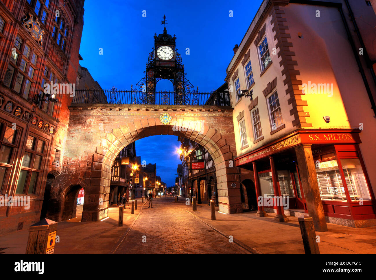 NW,North,West,classic,history,historic,Cheshire,West,and,CWAC,east,tourist,tourism,council,local,authority,gem,gems,shot,nightshot,Eastgate,Clock,which,is,said,to,be,the,most,photographed,clock,in,England,after,Big,Ben,Chester,City,Night,at,Dusk,England,UK,Deva,Roman,victorian,victoria,Gotonysmith Chester is a city in Cheshire,England. Lying on the River Dee,close to the border with Wales,it is home to 120,622 inhabitants,and,is,the,largest,and,most,populous,settlement,of,the,wider,unitary,authority,area,of,Cheshire,West,and,Chester,which had a population of 328,100,according,to,the,2001,Census.,Chester,was,granted,city,status,in,1541.,Chester,was,founded,as,a,or,Roman,fort,with,the,name,Deva,Victrix,in,the,year,79,by,the,Roman,Legio,II,Adiutrix,during,the,reign,of,the,Emperor,Vespasian.,Chesters,four,main,roads,Eastgate,Northgate,Watergate and Bridge,follow routes laid out at this time – almost 2,000,years,ago.,One,of,the,three,main,Roman,army,bases,Deva,later,became,a,major,settlement,in,the,Roman,province,of,Britannia.,castrum,Buy Pictures of,Buy Images Of