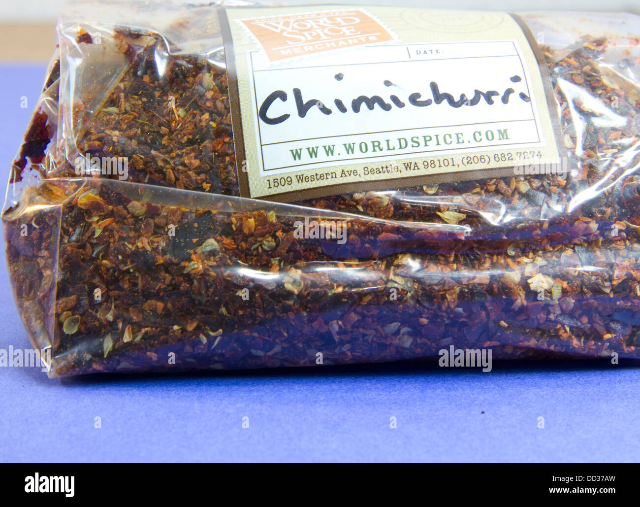 Chimichurri spice mix from a specialist spice expert in Oregon, USA. - Stock Image
