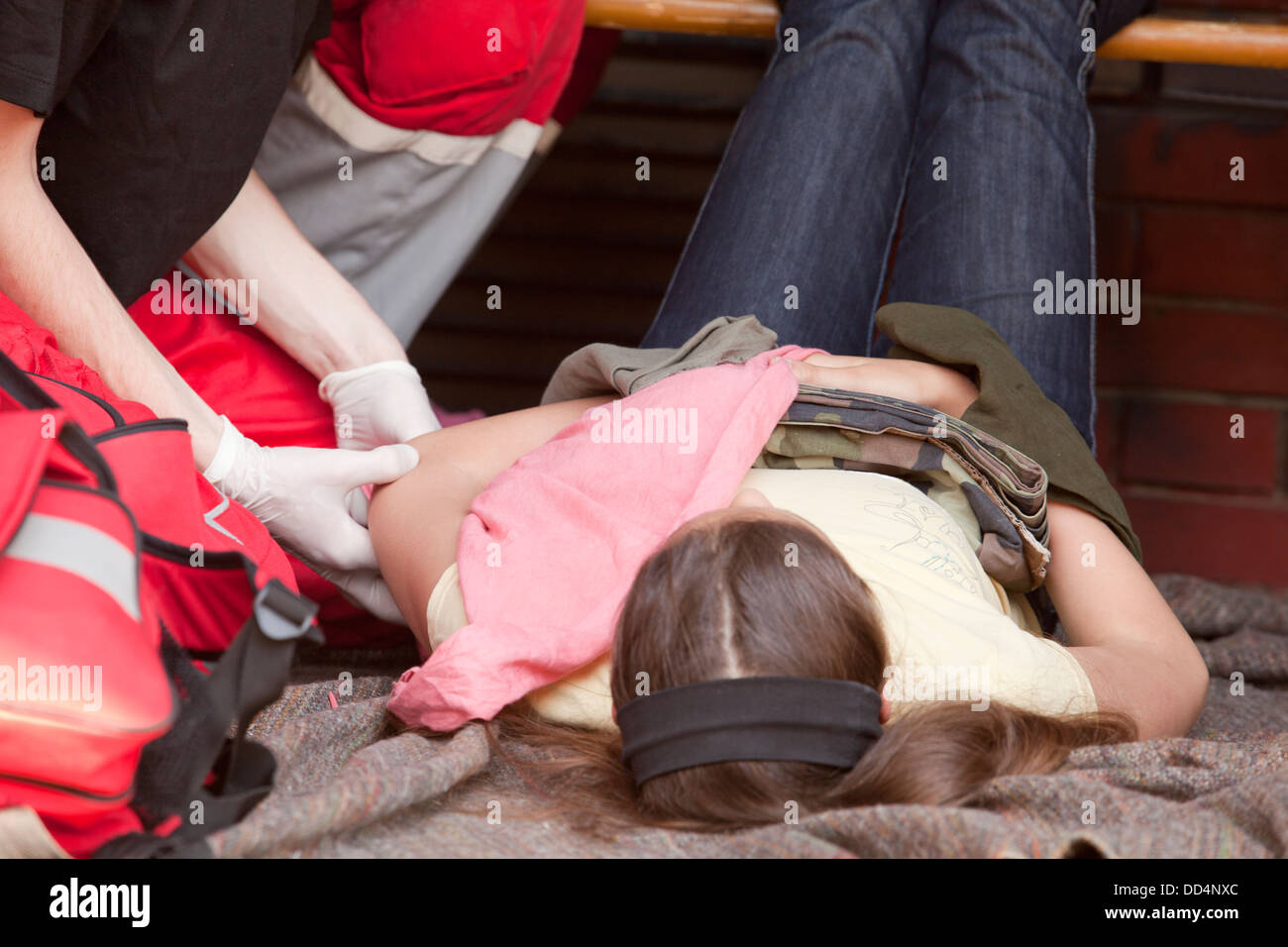 first aid training immobilization - Stock Image