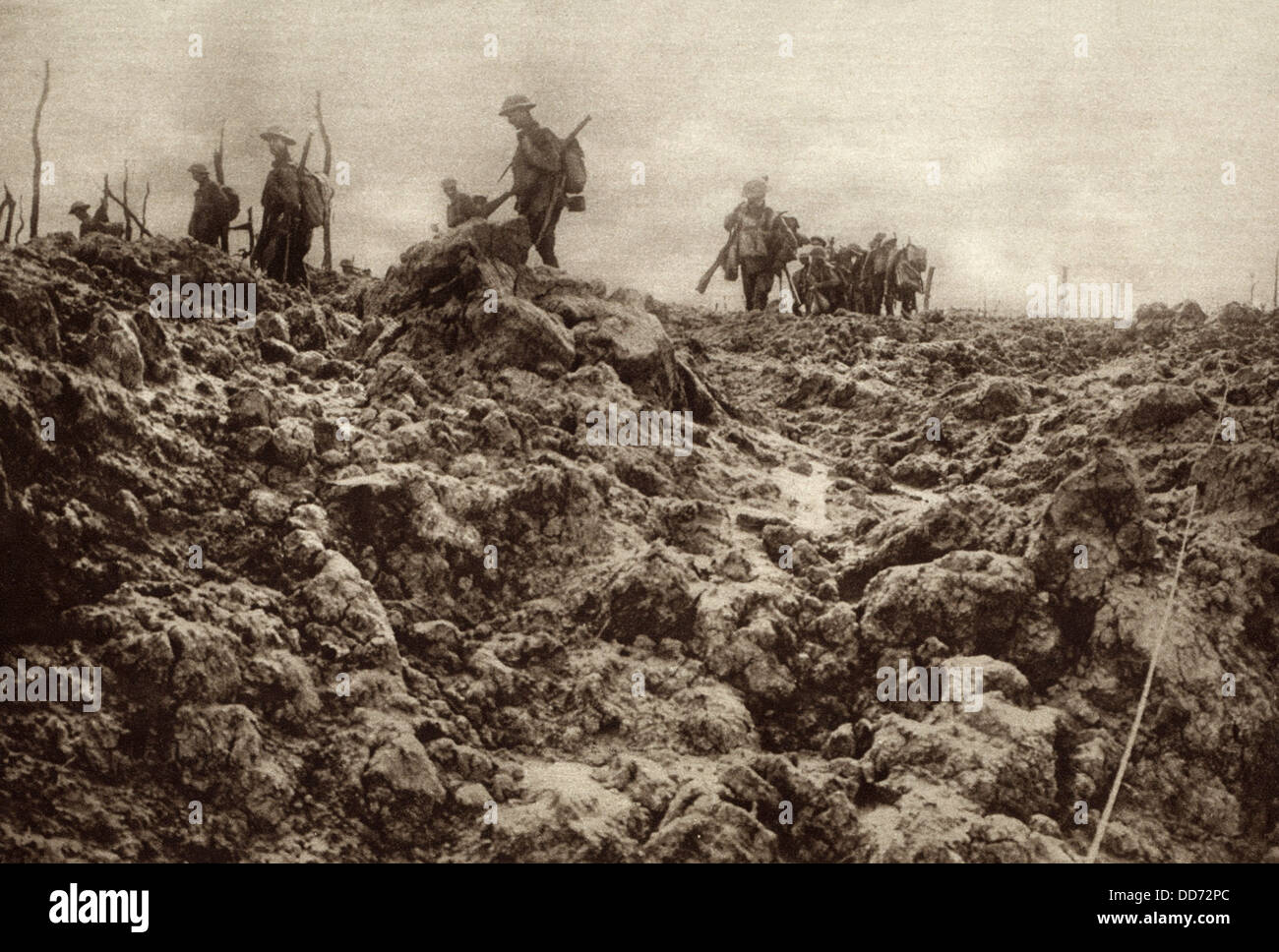 World War 1. Western front battleground has been churned up by shell explosions so that it bears no resemblance - Stock Image