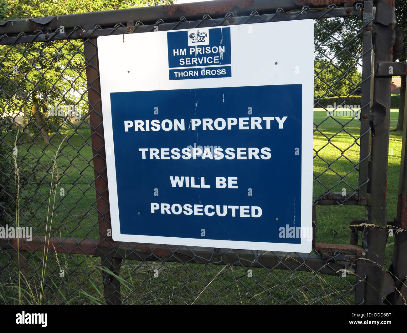 sign,offenders,service,Cheshire,Warrington,Appleton,Thorn,Cross,Property,Trespassers,will,be,prosecuted,land,fence,on,a,escape,attempt,attempted,NW,north,west,England,English,Wales,&,and,welsh,GB,Great,Britain,British,UK,United,Kingdom,legal,system,gotonysmith,Buy Pictures of,Buy Images Of