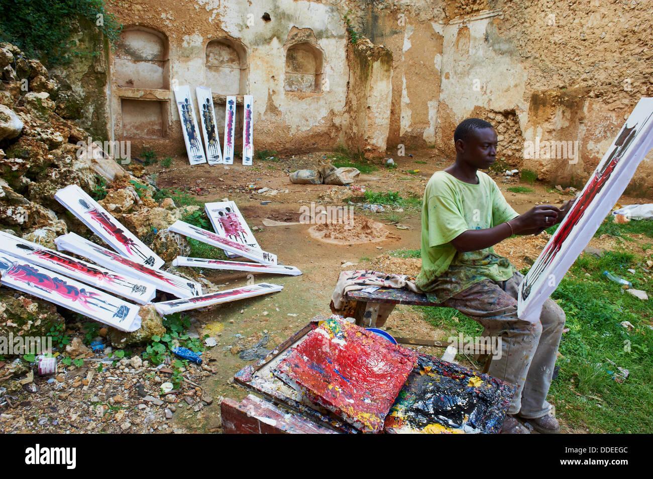 Tanzania, Zanzibar island, Unguja, Stone Town, unesco world heritage, artist painter - Stock Image