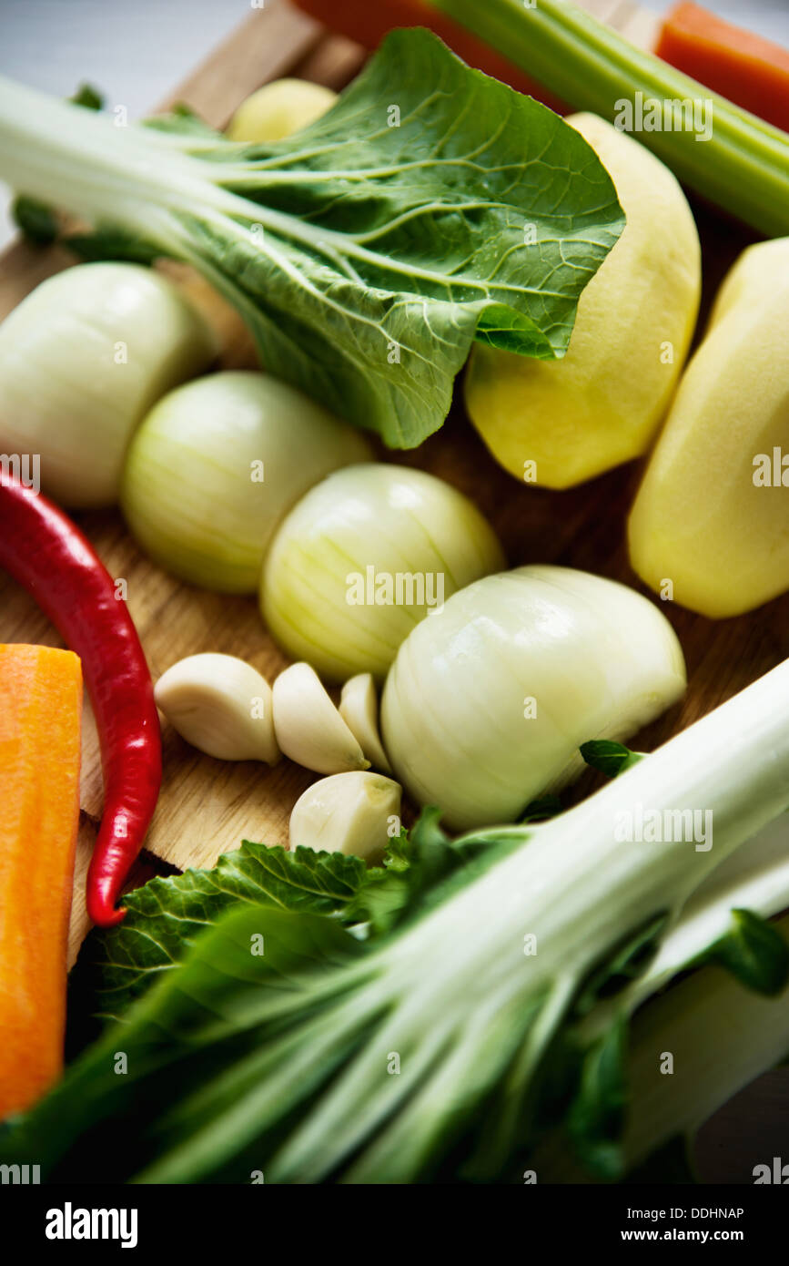 Set for vegetable soup bok choy, carrot, onion, garlic, chili, celery, potato - Stock Image