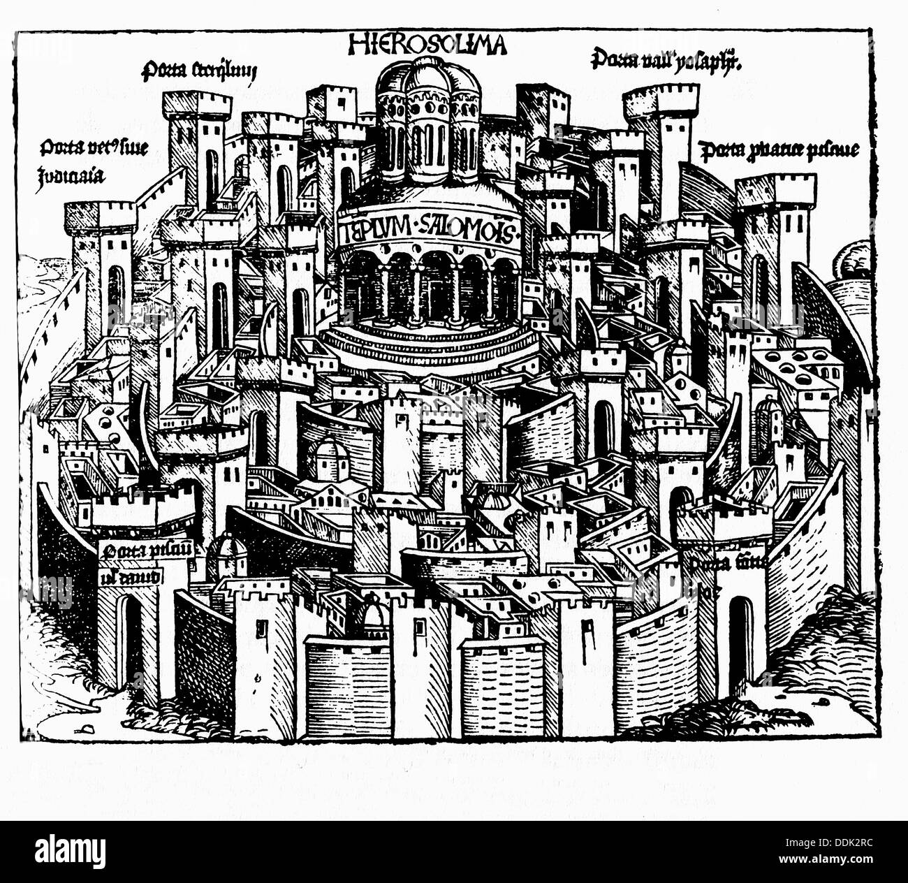 Jerusalem, the temple of Solomon and the towers. Book of Chronicles. Nuremberg, 1493. Stock Photo