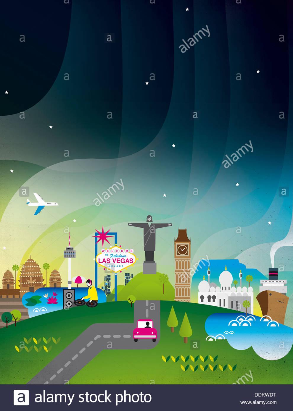 Choice of international holiday destinations - Stock Image