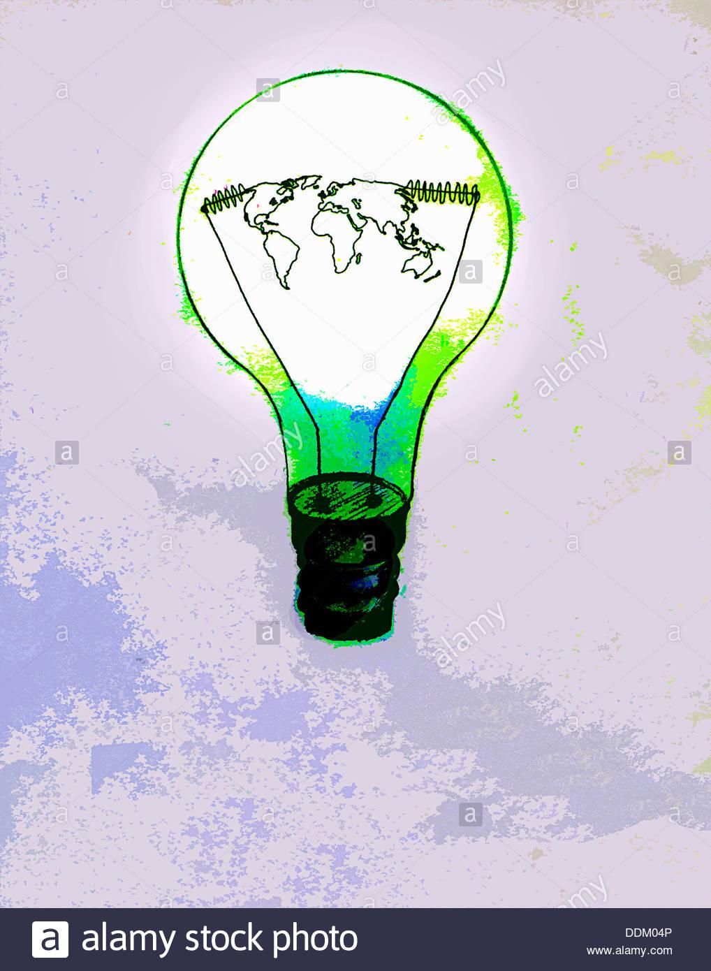 Global map inside green light bulb - Stock Image