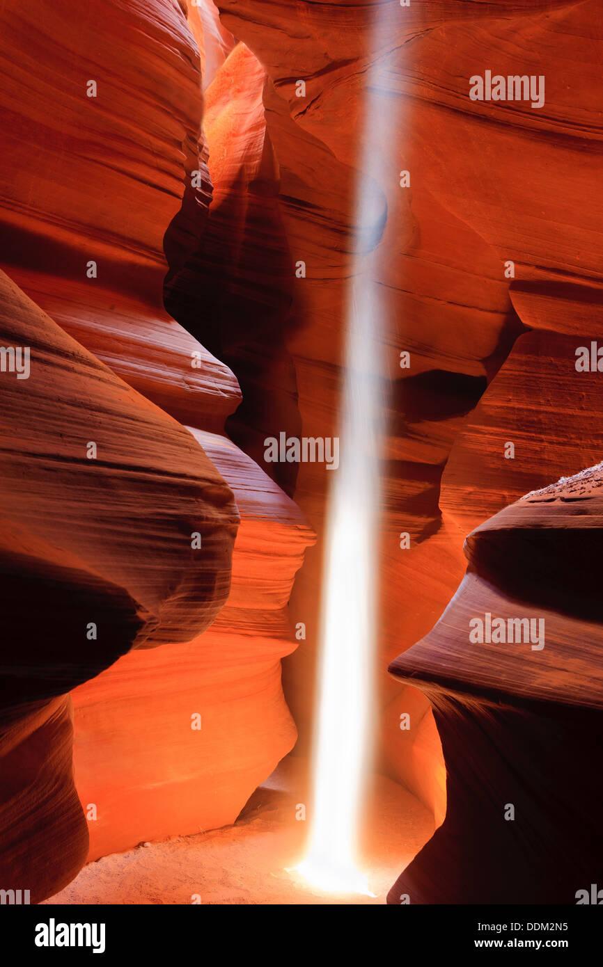 Lightbeams in Upper Antelope Canyon, Page, Arizona - Stock Image