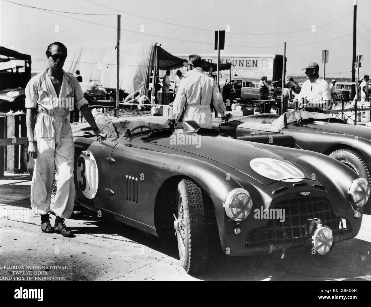 Peter Collins With An Aston Martin Sebring Florida USA S - Aston martin florida