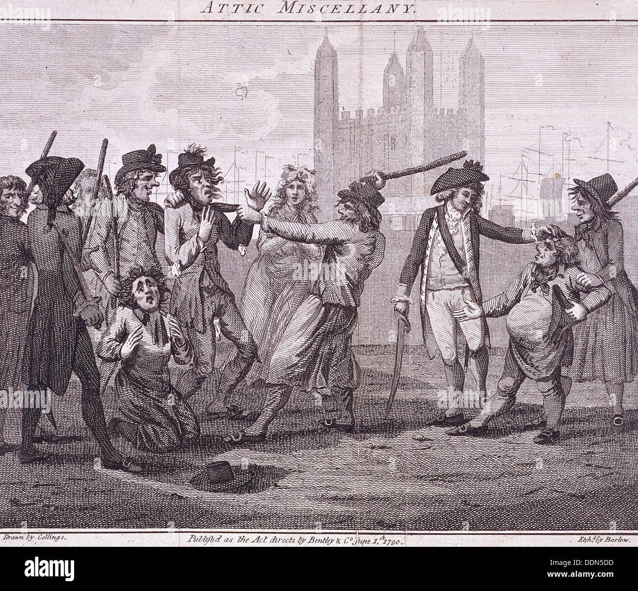 'Manning the navy', Tower Hill, London, 1790. Artist: John Barlow