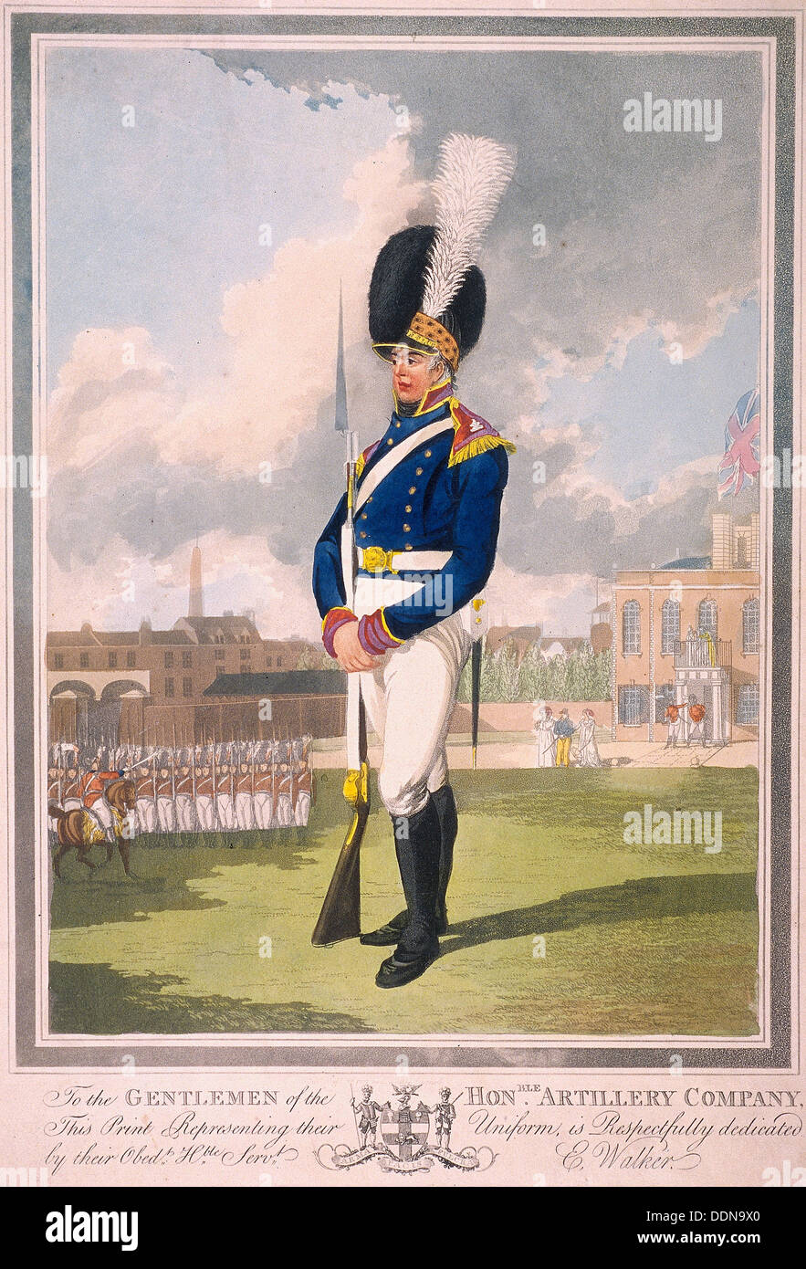Military figure in the uniform of the Honourable Artillery Company, 1803. Artist: Anon - Stock Image
