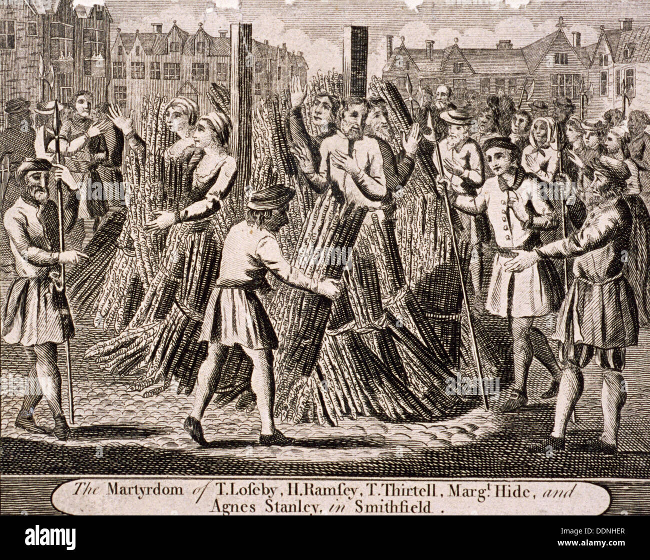 Execution of protestants at Smithfield, 1557, (c1720). Artist: Anon