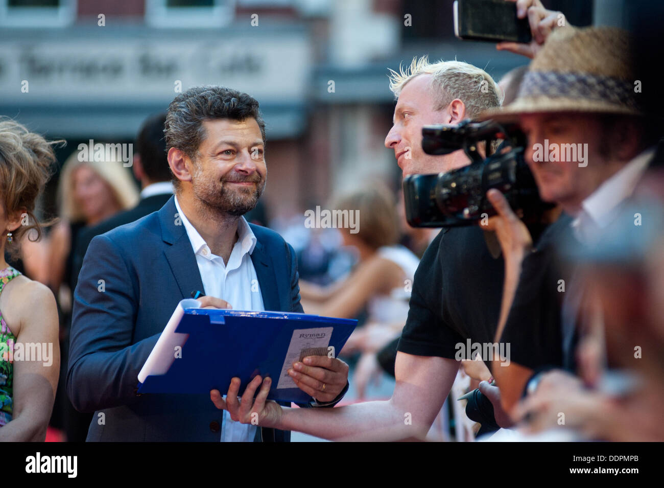 London, UK - 5 September 2013: Andy Serkis signs autographs at the Diana world premiere at the Odeon Cinema in Leicester - Stock Image