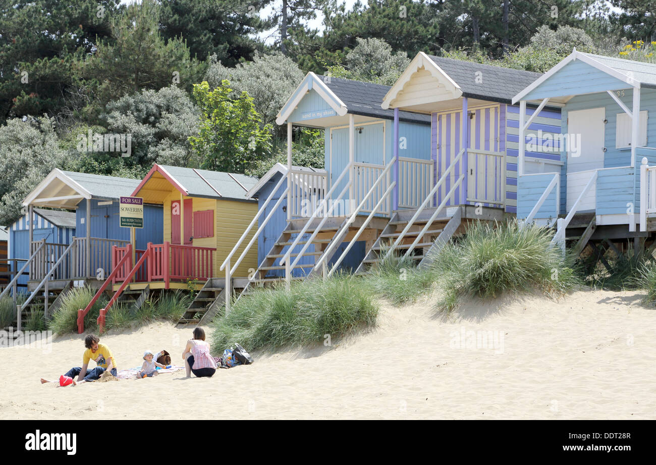 beach huts at wells next the sea on the norfolk coast Stock Photo