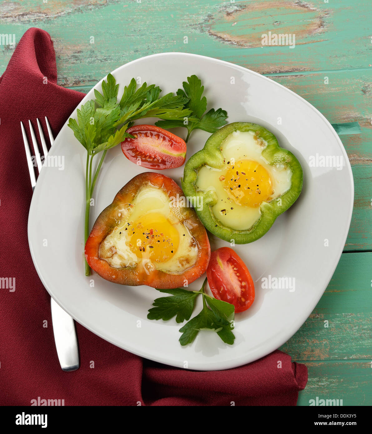 Fried Eggs In Sweet Pepper Slices Stock Photo