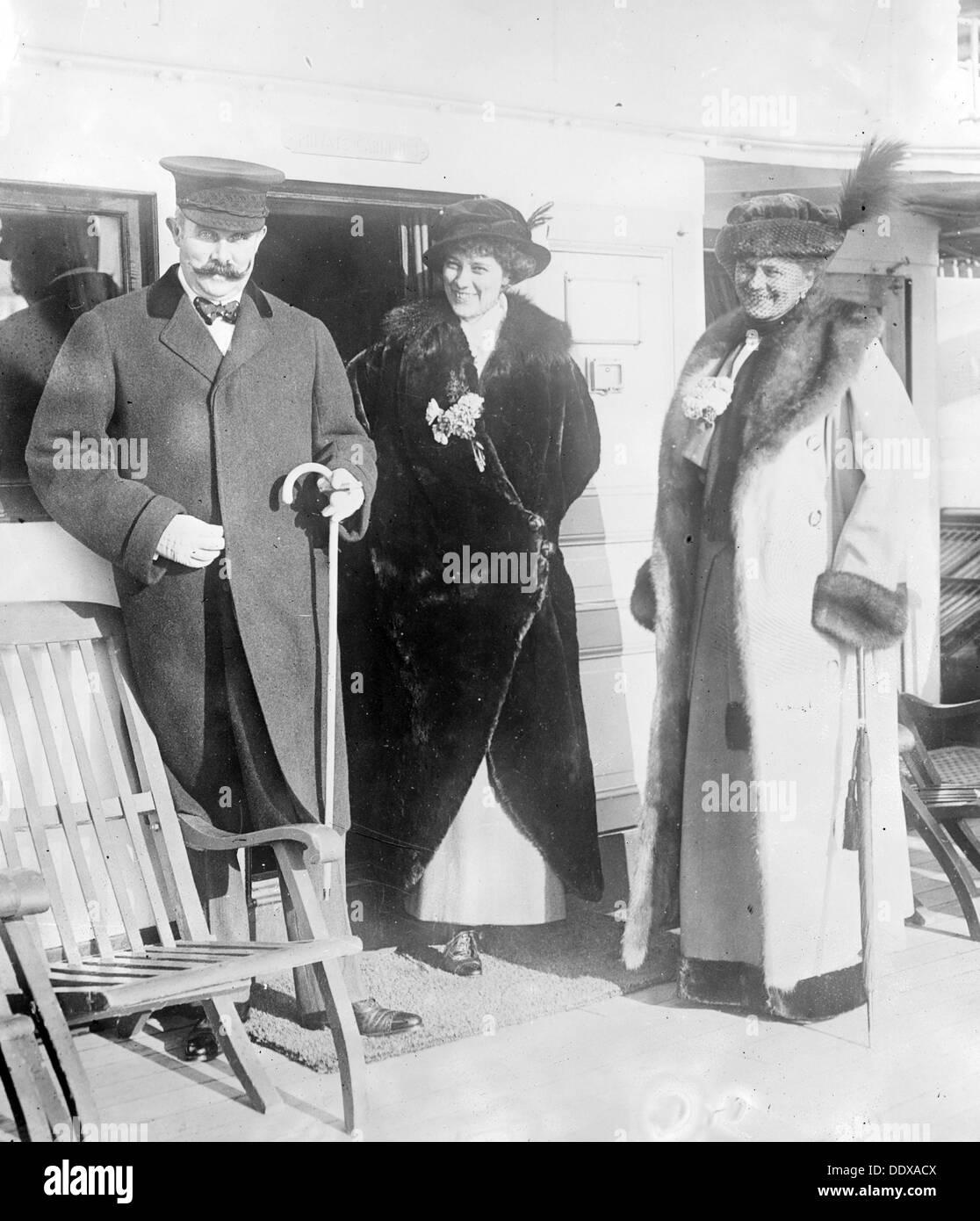 Archduke Franz Ferdinand of Austria, Countess Baillet de Latour and Countess Hohenberg, - Stock Image