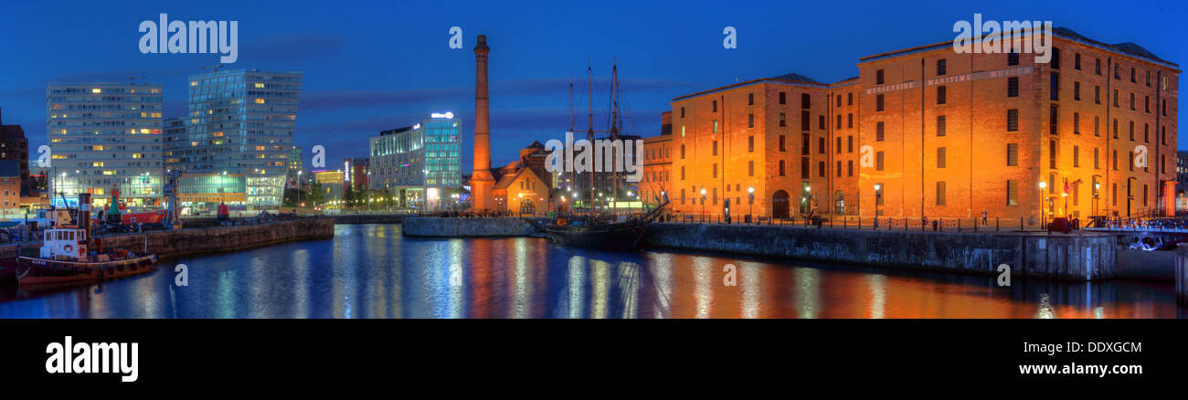 panorama,Liverpool,docks,Merseyside,England,UK,L3,4AA,L34AA,wide,angle,wide,shot,wideangle,reflect,reflections,reflected,in,the,water,dock,side,dockside,blue,hour,bluehour,city,beatle,beatles,World,Heritage,Maritime,Mercantile,UNESCO,redevelopment,tate,art,gallery,museum,warehouse,system,docking,gotonysmith tourist attraction tourists attractions,scouse,scouser,Buy Pictures of,Buy Images Of