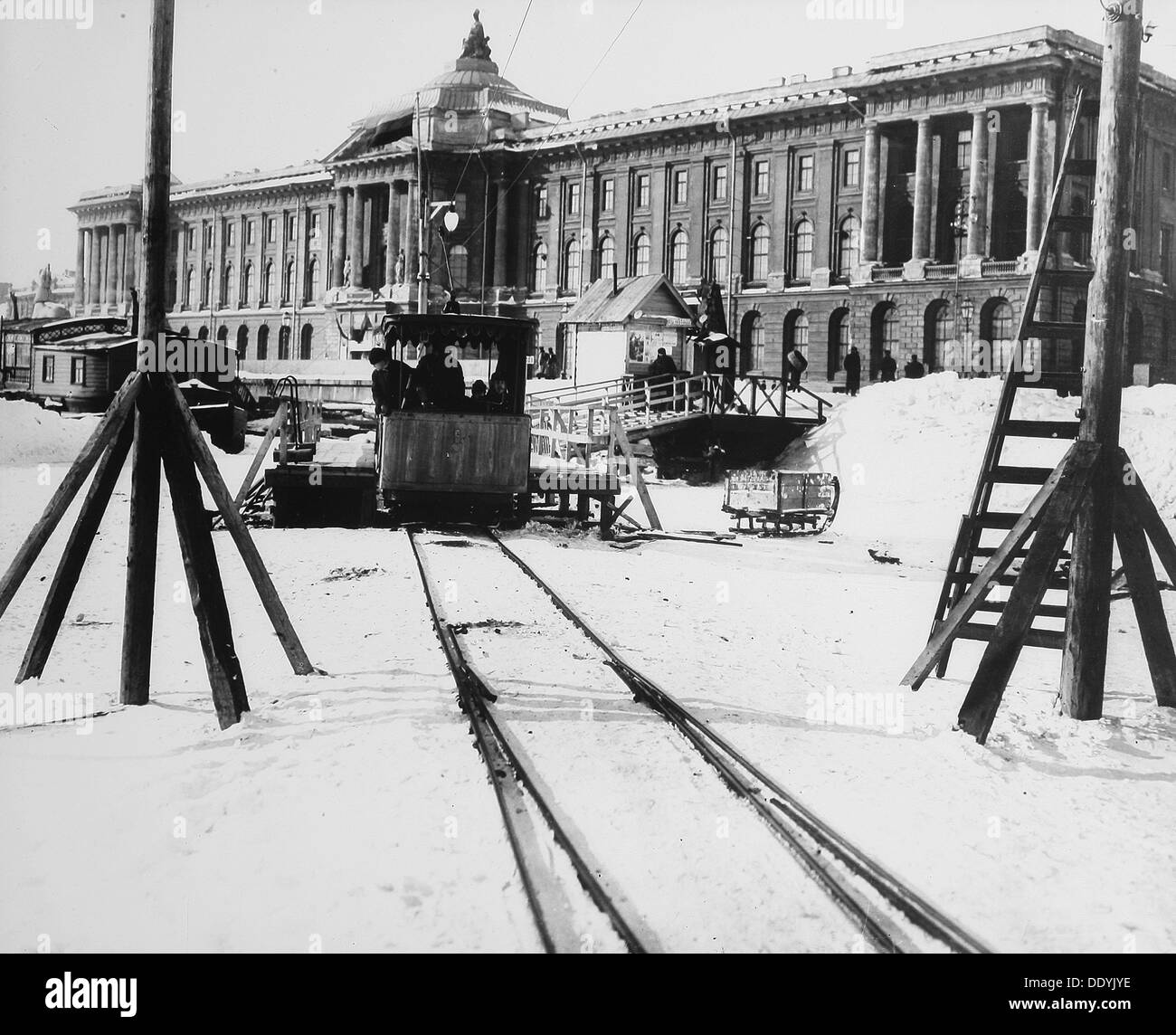 Suburban train station in fornt of the Academy of Arts, St Petersburg, Russia, c1896-c1898. - Stock Image