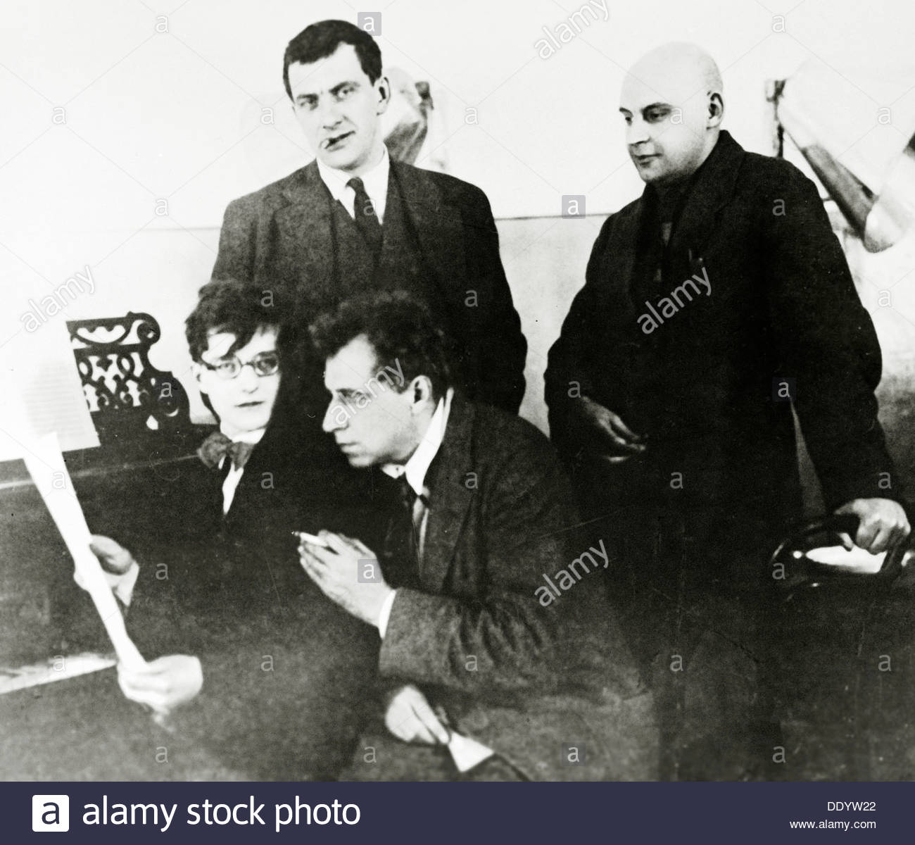 Four prominent figures in the Russian arts, 1929.  Artist: Alexei Temerin - Stock Image