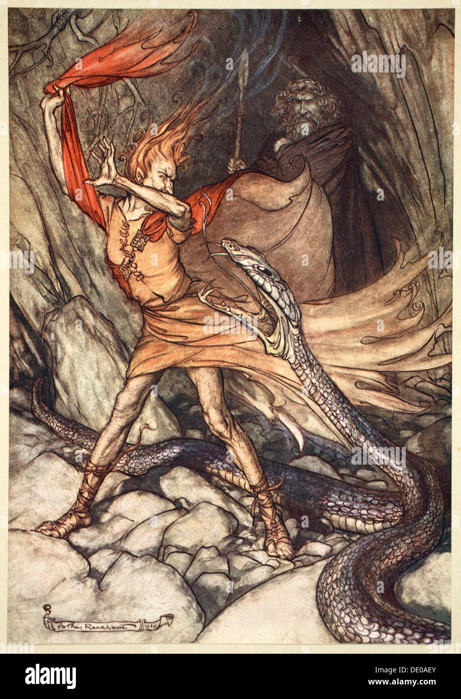 'Ohe! Ohe! Horrible dragon, O swallow me not! Spare the life of poor Loge!', 1910.  Artist: Arthur Rackham - Stock Image