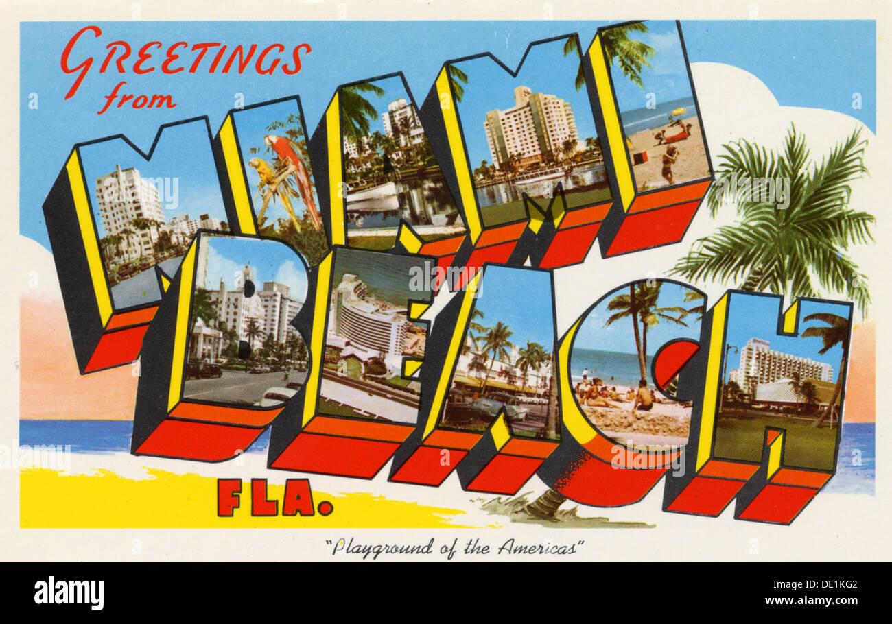 Greetings From Miami Beach Playground Of The Americas Postcard