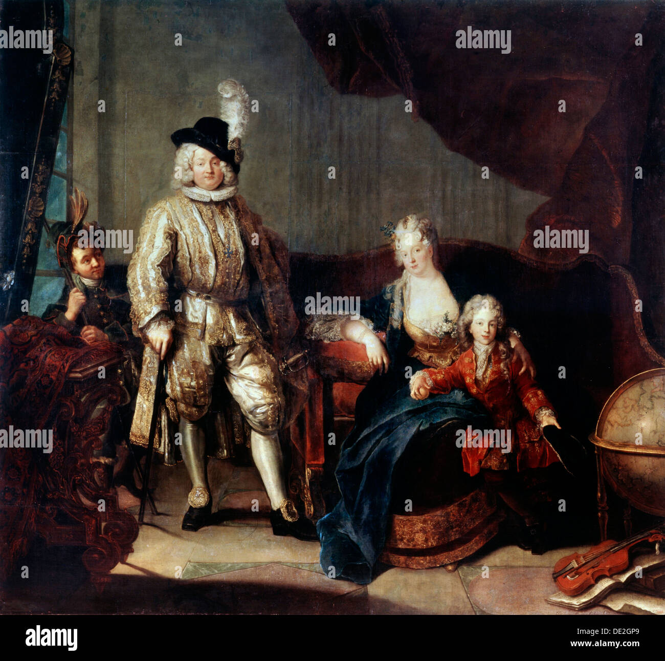 'Portrait of Baron von Erlach with his Family', c1710. Artist: Antoine Pesne - Stock Image
