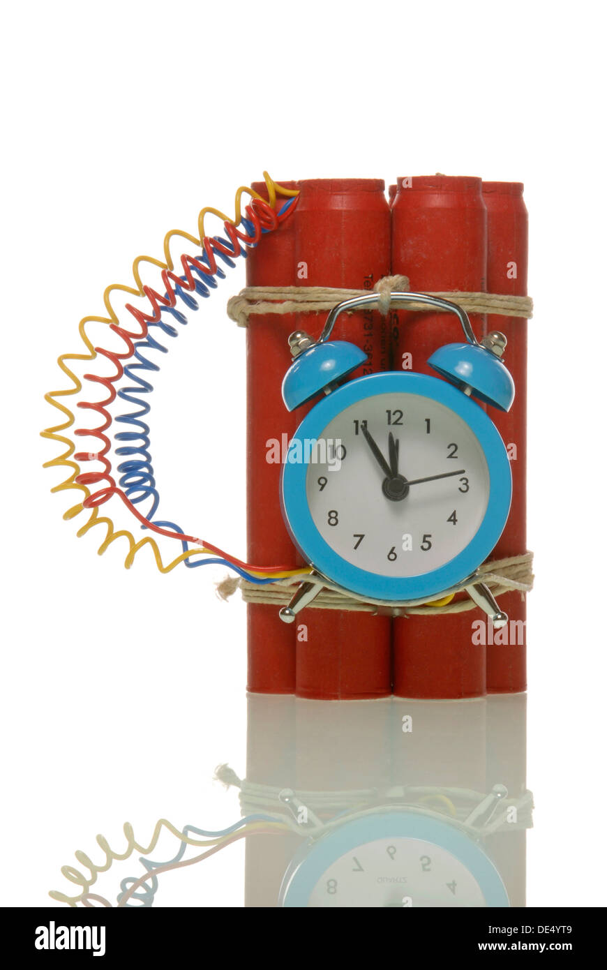 Bomb, sticks of dynamite with an alarm clock - Stock Image