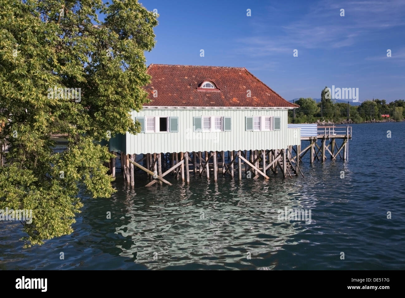 Pile dwelling, house on stilts, near Lindau, Lake Constance, Bavaria - Stock Image