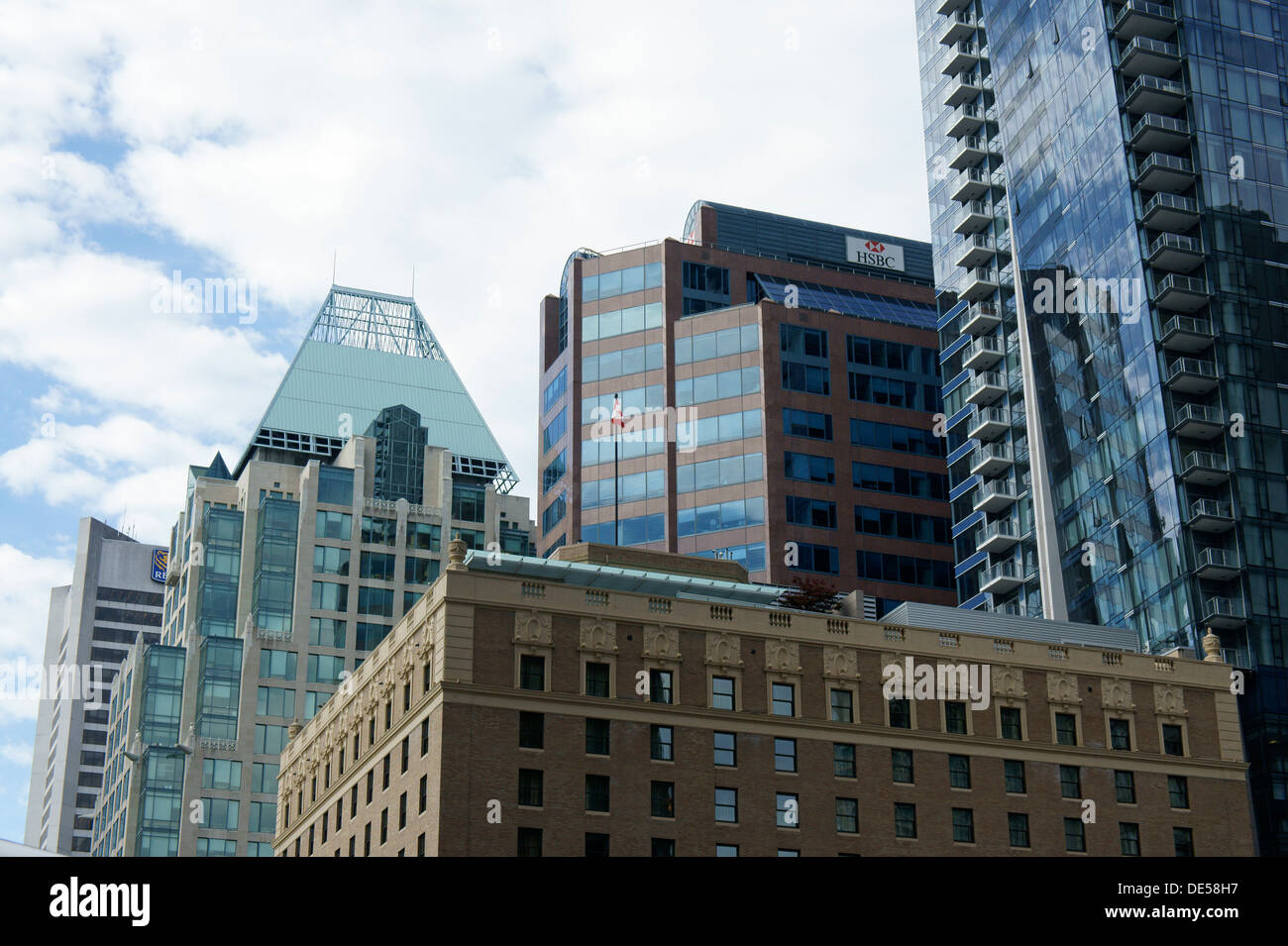 Hotel Georgia and glass office towers in downtown Vancouver, BC, Canada - Stock Image