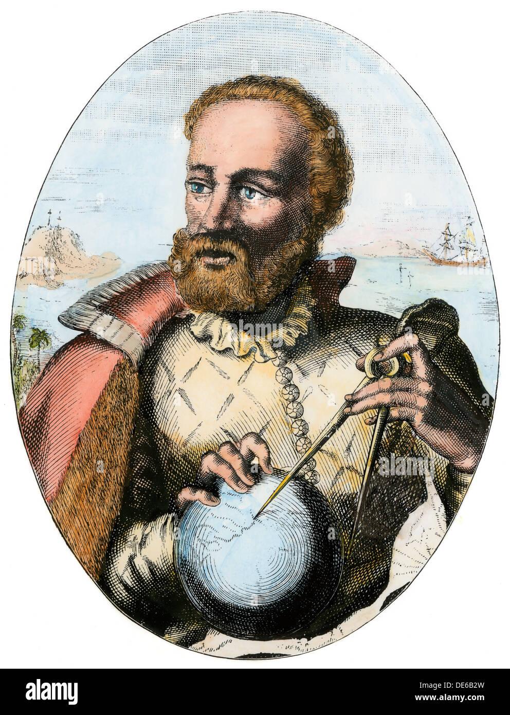 Portuguese explorer Ferdinand Magellan holding navigation instruments. - Stock Image