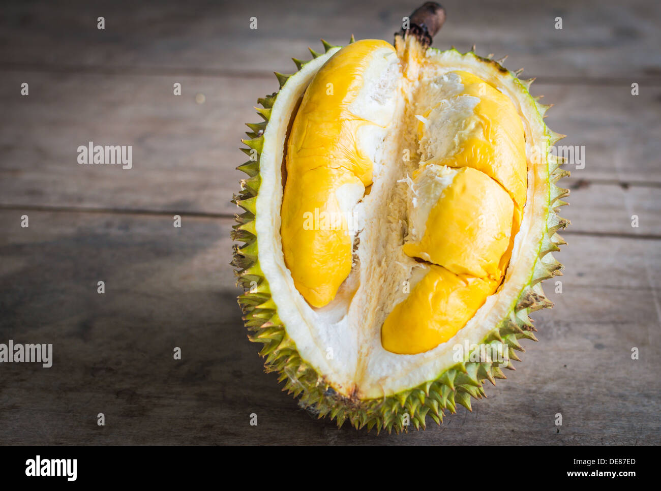 Close up of peeled Durian.By placing the components on the wood board. Stock Photo
