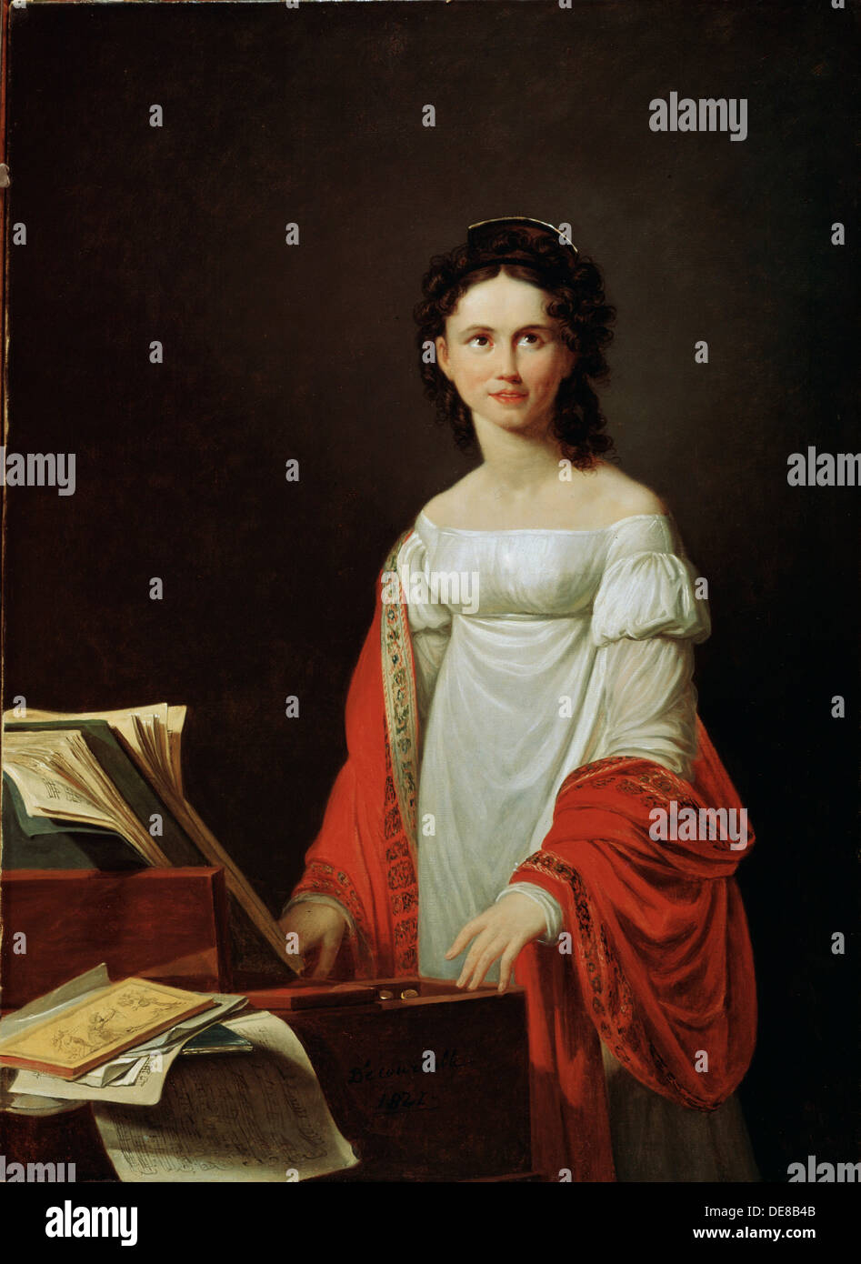 'Portrait of the Singer Anna Borunova', 1821.  Artist: Nicolas de Courteille - Stock Image