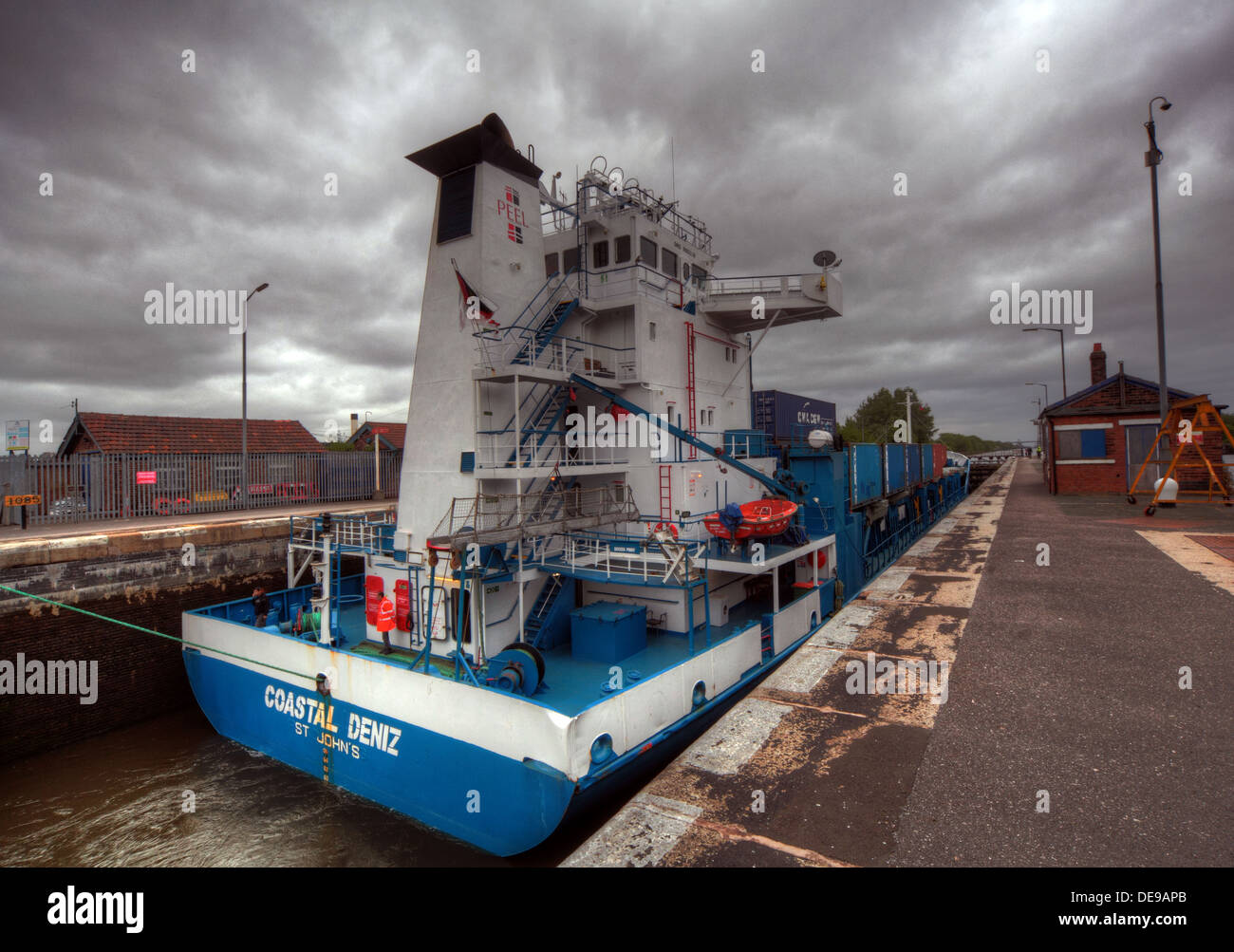 Manchester,ship,canal,company,Manchester,ship,canal,co,company,ship.boat,lock,Coastal,Deniz,at,Latchford,Locks,MSCC,Warrington,England,UK,containers,container,goods,MV,MV Coastal Deniz,Liverpool,Seaforth,terminal,goods,Warringtonians,gotonysmith,Buy Pictures of,Buy Images Of