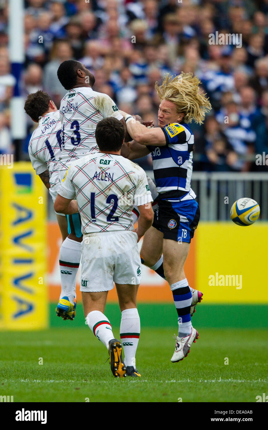 BATH, UK - Saturday 14th September 2013. Action from the Aviva Premiership match between Bath Rugby and Leicester - Stock Image