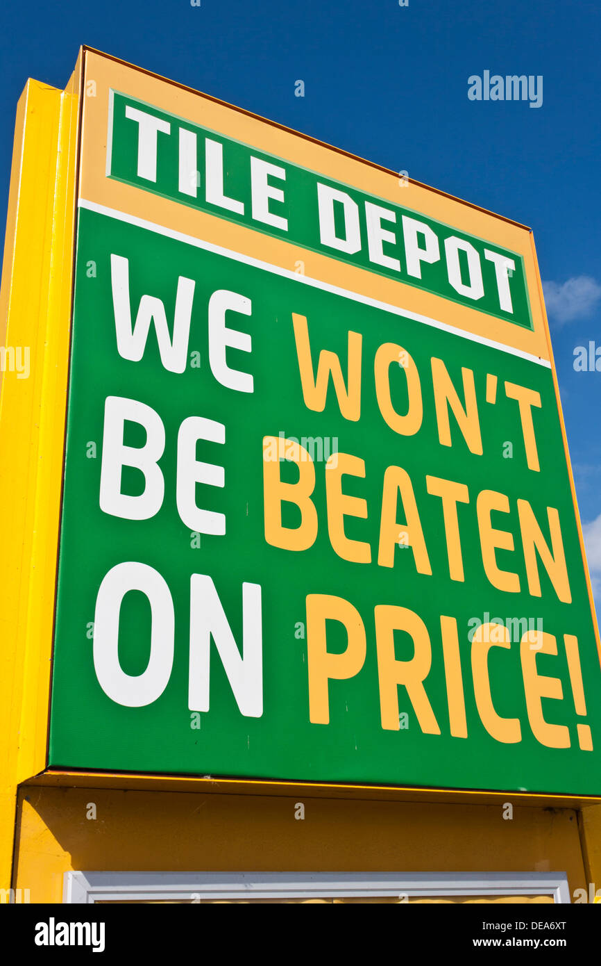 Price guarantee sign outside a Tile Depot store Stock Photo ...