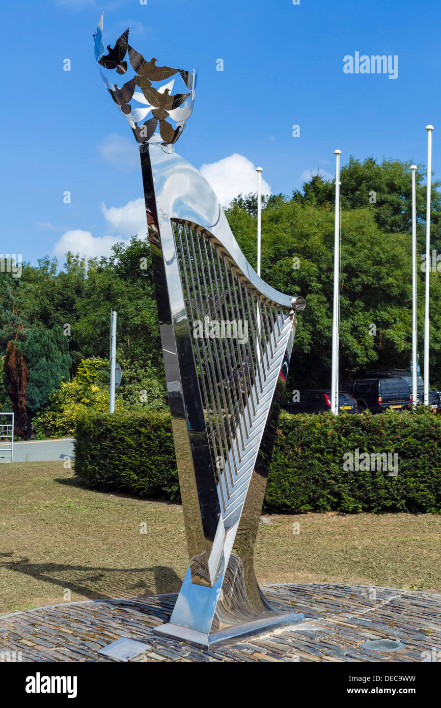 Harp outside the International Musical Eisteddfod site in Llangollen, Denbighshire, Wales, UK - Stock Image