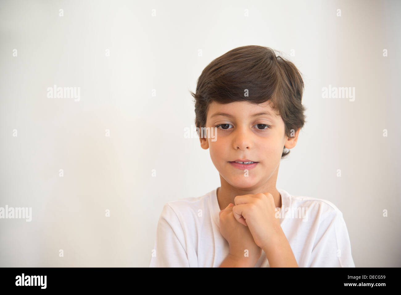 boy, kid, schoolboy, expecting, expectation, excitement, waiting for, surprise, childish,  dreaming, waiting for, - Stock Image