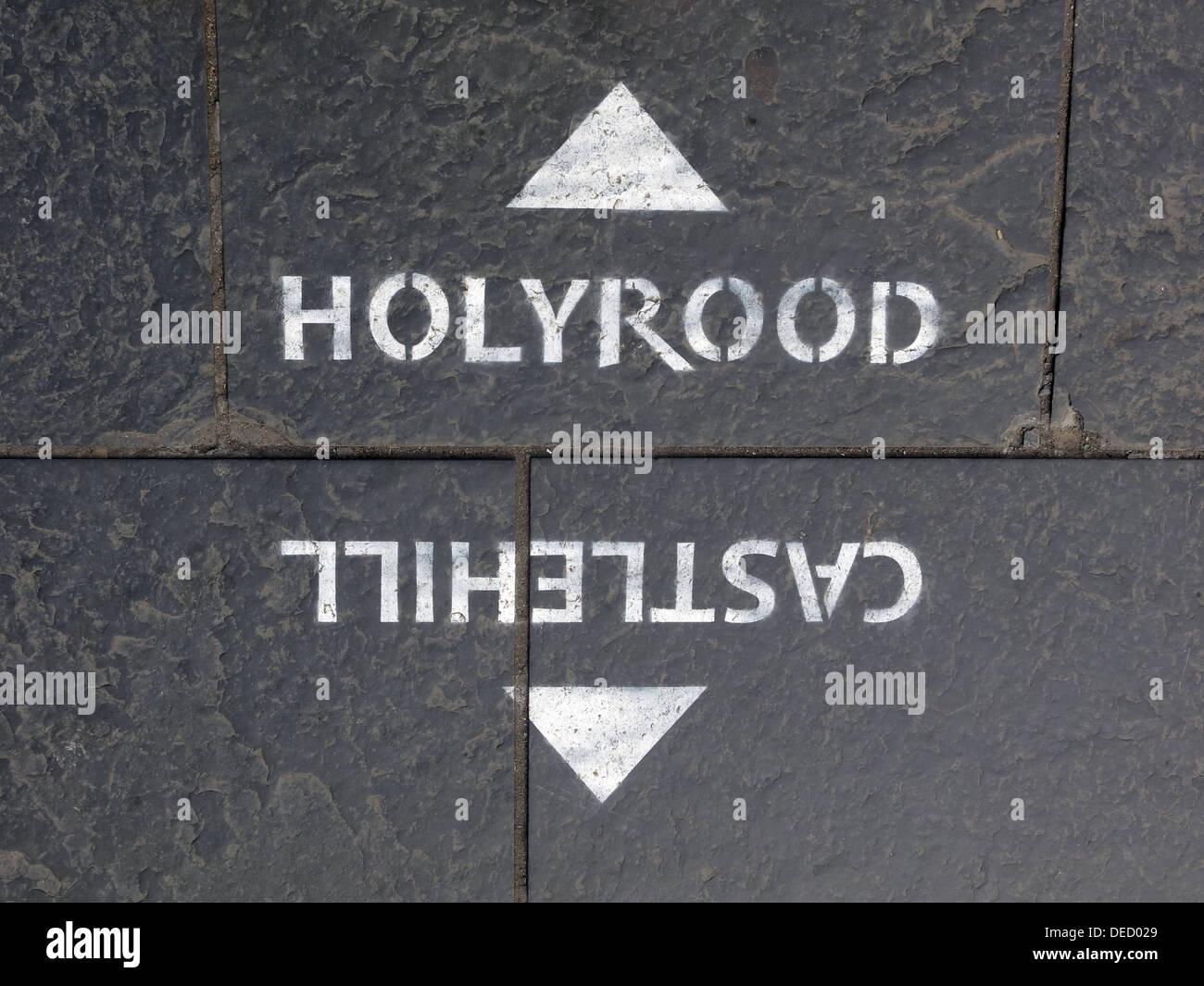 Royal,Mile,Edinburgh,Scotland,UK,signage,parliament,SNP,choice,choices,arrow,on,path,gotonysmith,Buy Pictures of,Buy Images Of
