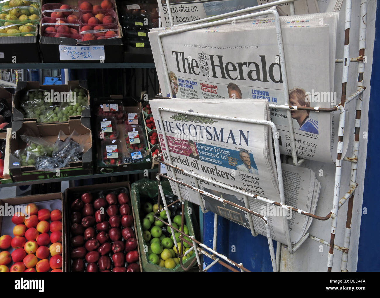 EH1,Scottish,Scot,scots,independance,independence,at,a,grocers,shop,Local,Newspapers,on,a,stand,newstand,newsstand,news,stand,paper,journalism,fruit,international,nort,of,border,press,rack,information,royal,mile,Gotonysmith,Buy Pictures of,Buy Images Of