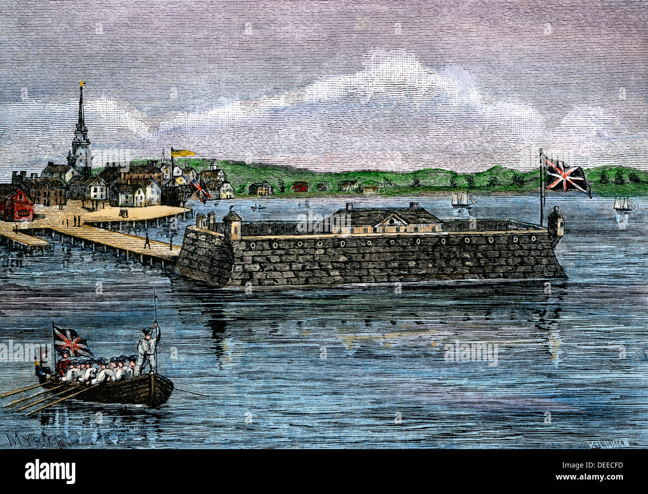 North Battery, colonial Boston harbor, 1700s. - Stock Image