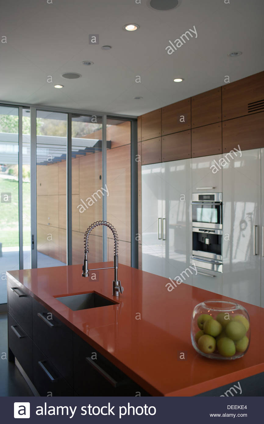 Interior of modern kitchen with spray nozzle - Stock Image