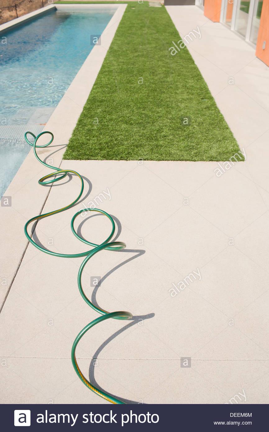 High angle view of modern swimming pool - Stock Image