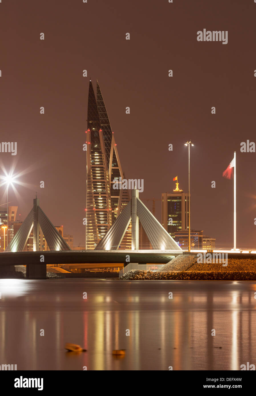 Manama at night, Bahrain, Middle East - Stock Image