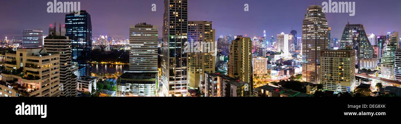 Panoramic view of Bangkok at night from Rembrandt Hotel and Towers, Sukhumvit 18, Bangkok, Thailand, Southeast Asia, - Stock Image