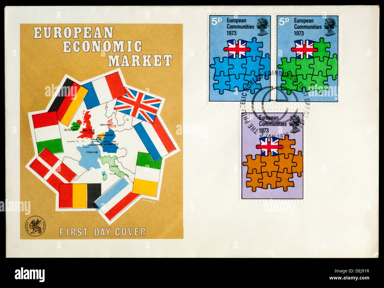 First Day Cover celebrating the European Economic Market. - Stock Image