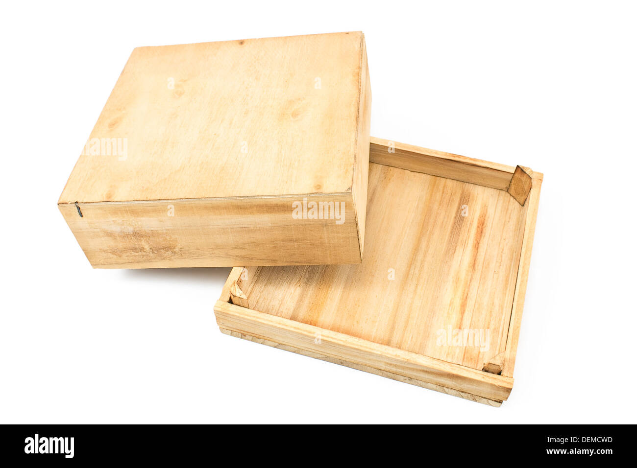 open wooden box isolated on white stock photo 60685449 alamy