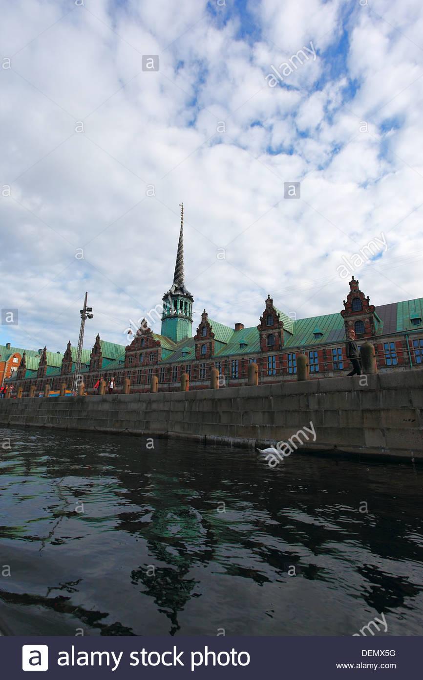 Børsen (English: The Stock Exchange) is a building on Slotsholmen in central Copenhagen, Denmark. Viewed from - Stock Image
